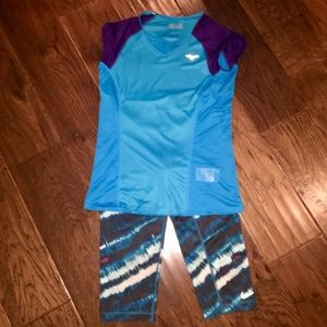 Nike Dry Fit pants with Mizuno shirt, size Medium